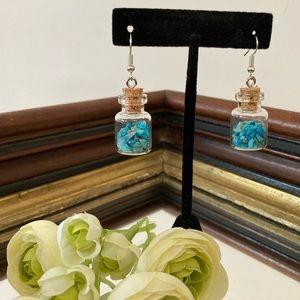 Genuine Turquoise Bottle Earrings